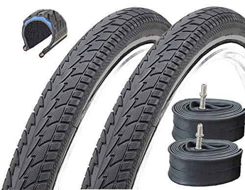 2 Stück 28 Zoll Black Dingo Spinifix Fahrradreifen Pannensicher mit BD-Shield 700 x 40C (42-622) + 2 Schläuche mit Autoventil
