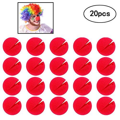 Amasawa 20 Piezas Espuma Clown Nose,Nariz de Payaso Rojo,Red Nose Espuma Circo Clown Nariz para Comic Party Supplies Halloween Decoraciones
