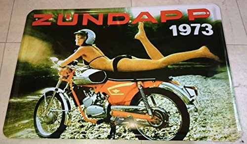 Blechschild 20x30 cm Zündapp KS50 Moped Pin up Girl Bike Werbung Metall Schild