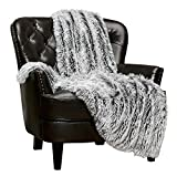 Chanasya Super Soft Fuzzy Shaggy Faux Fur Throw Blanket - Chic Design Snuggly Plush Lightweight with Fluffy Reversible Sherpa for Couch Living Room Bedroom and Home Décor (50x65 Inches) Frost Tip Gray