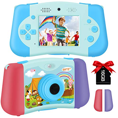 GKTZ Kids Camera Digital Video Camcorder Dual Lens Selfie Cameras 1080P 12M HD Recorder 2.4 inch Music Player Toys Birthday Gifts for Boys and Girls Age 3 4 5 6 7 8 9 10 with 16G Memory Card (Blue)