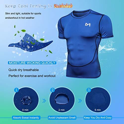 MEETYOO Kompressionsshirt Herren, Laufshirt Kurzarm Funktionsshirt Atmungsaktiv Sportshirt Männer T-Shirt für Running Jogging Fitness Gym - 4