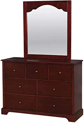 Benjara Wooden Dresser with 7 Drawers and Bracket Feet, Cherry Brown