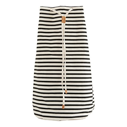 House Doctor 205720434 Einkaufsbeutel, Stripes, Schwarz/Weiß, Dm: 35 cm, h: 65 cm, Aluminium, MDF, Glas, Metall, Papier