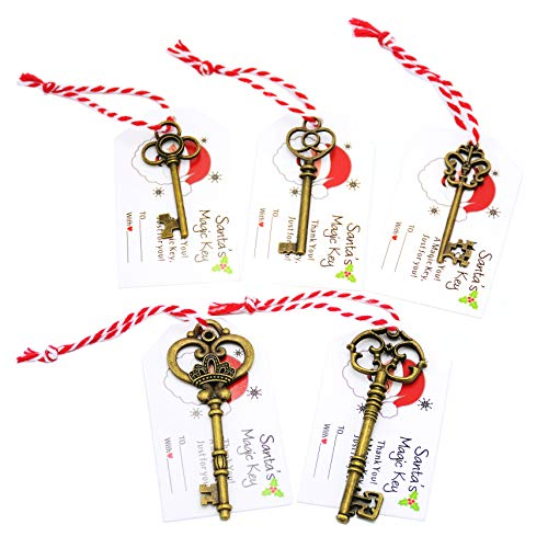 Aokbean Mixed 50pcs Skeleton Antique Santa Keys Old Key Christmas with Thank You Name Tags Soft Cord for Xmas Gift Hanging Ornament Tree Decor