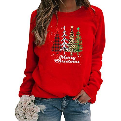 Sudadera Navidad Mujer Jersey Arbol Navideño Feo Sudaderas Navideñas Mujer Divertido Pullover Navidad Ugly Jerseys Navideños Adolescente Chica Sudadera Navideña Talla Grande Sueter Navideño Rojo L