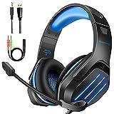 Cascos Gaming PS4 Gootoop para PS4, PS5, PC, Xbox One, PS4, Auriculares con micrófono, Sonido Envolvente 3D, cancelación de Ruido, Luces LED