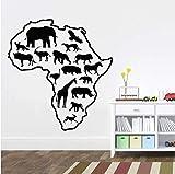Vinilo Arte Etiqueta de La Pared Para el Salón África Mapa Animales Removible...