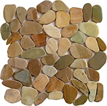 Interlocking Pebble Floor Tiles (10-Pack) Kitchen, Bathroom, and Patio Flooring | Indoor and Outdoor Use | Bali Mix Color Stones | Quick and Easy Grout Installation