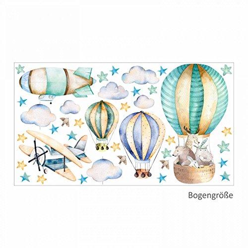 114 Wandtattoo Ballon mit Freunden - in 6 vers. Größen - Kinderzimmer Babyzimmer Sternenhimmel Aufkleber niedliche Sticker süße Wanddeko Wandbild Junge Mädchen Aquarell (Größe 1000 x 560 mm)