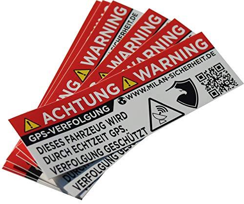 GRIP&BENDER 6 Stück GPS Sticker | Ortungs-GPS-Signal gesichert | inkl. Webseite auf dem Anti-Diebstahl Aufkleber | Alarm Warnaufkleber für Auto, Motorrad und Fahrrad | Aussenklebend (Weiss)