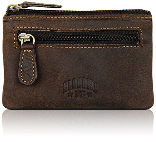KLONDIKE 1896 Sac /à bandouli/ère en cuir v/éritable Jack brun fonc/é sacoche robuste et pratique pour femmes et hommes