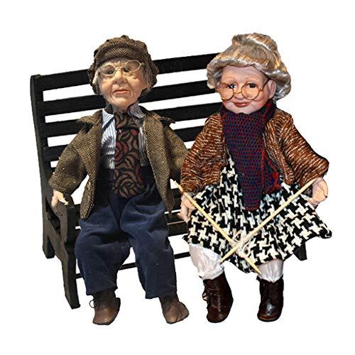 #N/A/a Muñecas de Porcelana Amables Coleccionables Abuela Abuelo Figuritas con Silla 45 Cm