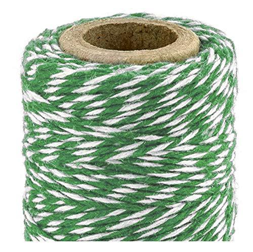 Libetui Backschnur aus Baumwolle Bindfaden Bäckerschnur Grün Packschnur Geschenkverpackung Bastelschnur Geschenk Schnur 50 Meter Schnur Grün Weiß