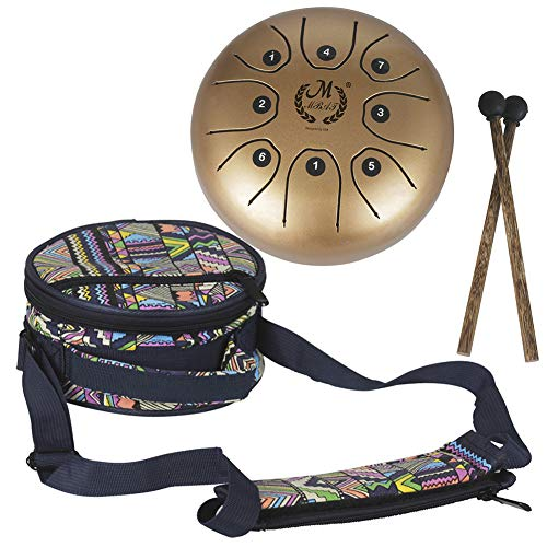 55 Inch Mini Steel Tongue Drum with Musical Mallet and Travel Bag for Personal Meditation Yoga Zen Gold