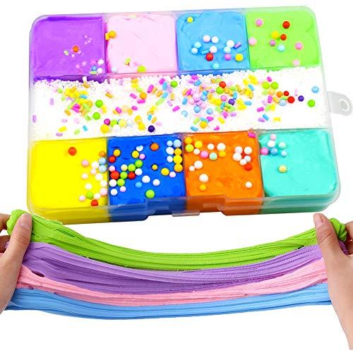 SWZY Flauschiger Schleim, Fluffy Putty Floam Slime Kit für Stressabbau Spielzeug Super weich und Nicht klebrig für Kinder Erwachsene, 9 Farbe Baumwollschleim