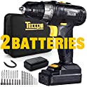 Teccpo Compact Cordless Drill With 2 Batteries And Accessories