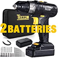 Teccpo TDCD02P 2.0Ah Lithium-Ion Compact Cordless Drill With 2 Batteries And Accessories