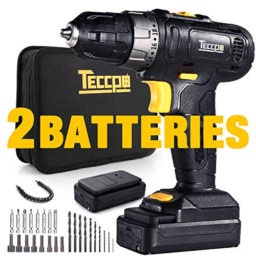 TECCPO Cordless Drill, 12V MAX Drill, 2pcs 2.0Ah Lithium-Ion Compact Drill Driver Set, 20+1 Position, 2-Speed Max Torque 240In-lbs, 3/8