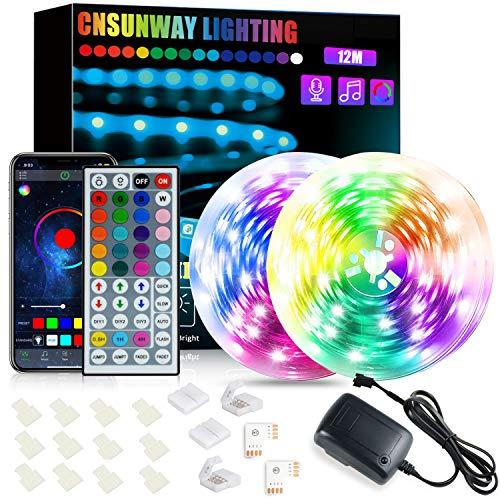 LED-Lichtleisten, Bluetooth 24V 12M CNSUNWAY-BELEUCHTUNG SMD5050 RGB-Band Licht Farbwechsel-Lichtleisten-Kit mit IR-Fernbedienung für Schlafzimmer Küche Decke TV Bar Party