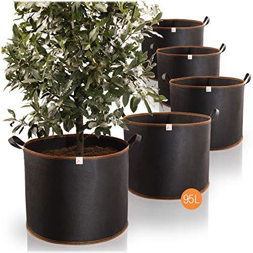 Amazy Sacchi per piante 95L set di 5 (Ø53,5cm, altezza 42cm) - Vasi in tessuto non tessuto per piantare - traspirante e resistente | sacchetti da coltivazione urbana di verdure e frutta
