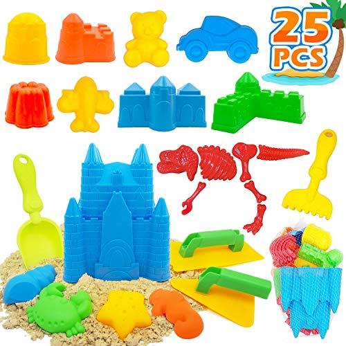 25 Pcs Kids Beach Sand Toys Set Beach Toys Includes Castle Bucket Sand Molds Beach Shovel Tool Kit Sand Castle Building Kits Kids Outdoor Toys Sandbox Toys for Toddlers Kids Outdoor Play