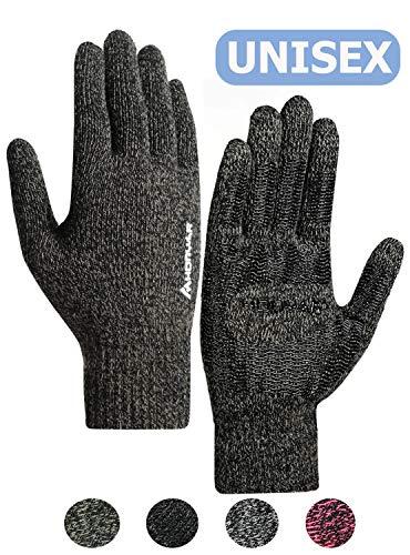 HONYAR Fahrradhandschuhe Männer, Winterhandschuhe Handschuhe Damen Herren Touchscreen - Warm Gefüttert - Elastische Manschette - Rutschfester Griff - Laufhandschuhe Autofahren - Schwarz & Khaki (XL)