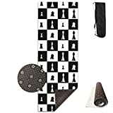 YYRR Estera de yoga Yoga Mats Chessboard Chess Set Pieces Board Popular Non-Slip Thick Exercise Mat Cover Carry Bag Strap for Home Gym Flooring 24' X 70.9' X 0.32'