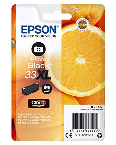 Epson Cartouche d'Origine T33 'Oranges' - Encre Claria Home Noir Photo - Taille XL Amazon Dash Replenishment est prêt