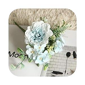 Johoo-Bikinis Camellia Bouquet Fake Peony Flower Artificial Silk Begonia Blue Rose Bridesmaid Bouquet Flower Home Wedding Flowers