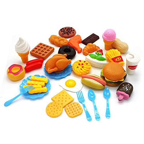 LQKYWNA 34pcs Pretend Lebensmittel Spielzeug-Set, Kinder Rollenspiele Spielzeug Early Education Küche Kunststoff Pizza Obst Gemüse Lebensmittel Set Kind-Geschenk Spielen