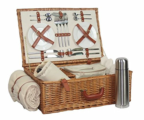 Red Hamper Rot behindern fh017 4 Person Deluxe voll ausgestattet Traditionelles Picknick Korb, braun, 22 x 58 x 38 cm