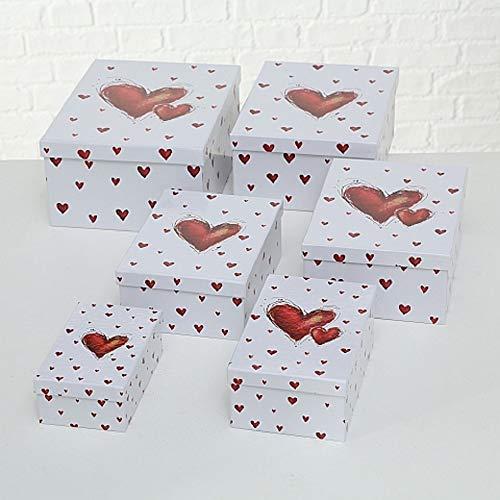 Paper Collection Set x 6 Scatole Organizer con Coperchio Contenitori Rettangolari Decorativi in Cartone Motivo Cuori Rossi Pulsanti Dimensioni Varie