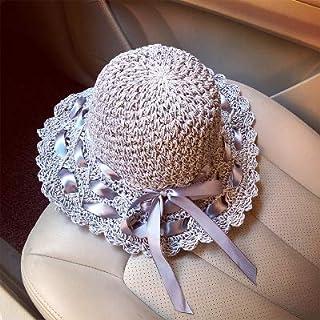 DUOLUO 麦わら帽子女性透かしストラップメッシュ弓手作りの大きな帽子折りたたみ夏日焼け止め太陽の帽子