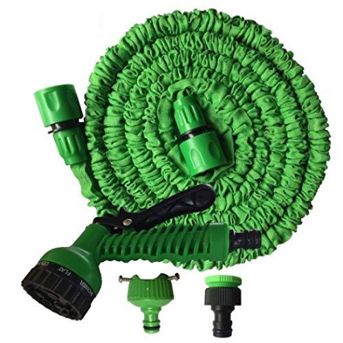 nsbs ホースリール 散水ホース 伸縮ホース 伸びるホース 散水ノズル付 超強化 軽量素材 3倍に伸びる お庭の水やり お家の掃除 庭 ベランダ 園芸 花壇 洗車 7.5-45M 高耐久性 収納便利 (グリーン,30Mまで)