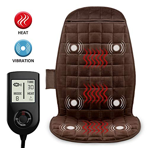 COMFIER Heated Car Seat Cover with Massage,3 Fast Heating Pads & 6 Vibration Motors, 12V Car Seat Heater,Seat Warmer Car Back Massager