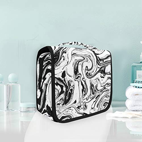 Cosmetic Bag Voyage Hanging Trousse De Toilette Art Marble Noir Blanc Sac De Rangement De Voyage Portable Maquillage Poche Sac Organisateur Cas pour les Femmes