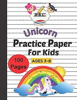 Unicorn Practice Paper For Kids Ages 3-8: Cursive Handwriting , 100 Blank handwriting practice paper with dotted lines (8,...