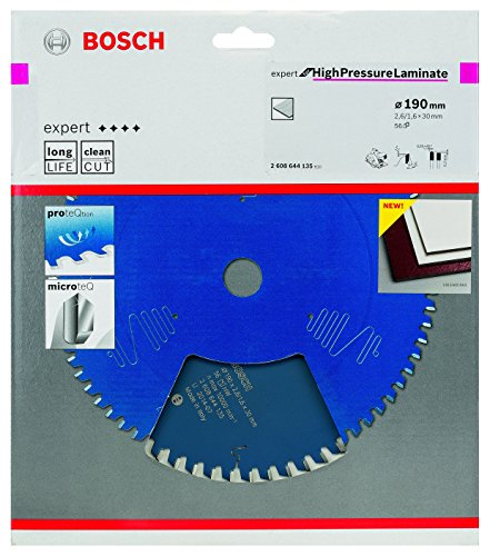 Bosch Kreissägeblatt Expert für High Pressure Laminate, 190 x 30 x 2,6 mm, Zähnezahl 56, 1 Stück, 2608644135 - 2