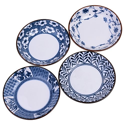 Beautyflier Set of 4 Ceramic Sauce Dish Soy Sauce Dipping Bowls Appetizer Plates Side Dishes Serving Dish Japanese Style Dinnerware Set (Leaf&flower(3.5inch))