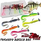 Angel-Berger Ready2Fish Tornado Twister mit Box Gummifisch Set mit Box Kunstköder (Barsch / 8cm)