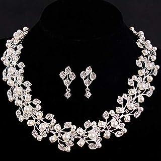 エレガントな模造真珠のブライダルジュエリーセットウェディングジュエリーハイエンドアクセサリークリスタルゴールドシルバーメッキネックレスイヤリングセット,B
