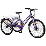 Adult Tricycle, 7 Speed Three Wheel Bikes Mountain Tricycles, 24/26 Inch Adults Trikes Men's Women's Cruiser Trike Bike with Large Basket (26' Wheels, Purple)