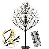 KESSER Kirschblütenbaum mit Fernbedienung 220 LED | 220cm Lichterbaum Indoor Outdoor Metallfuß Stabil | Weihnachten Beleuchtung Leuchtbaum Warmweiß