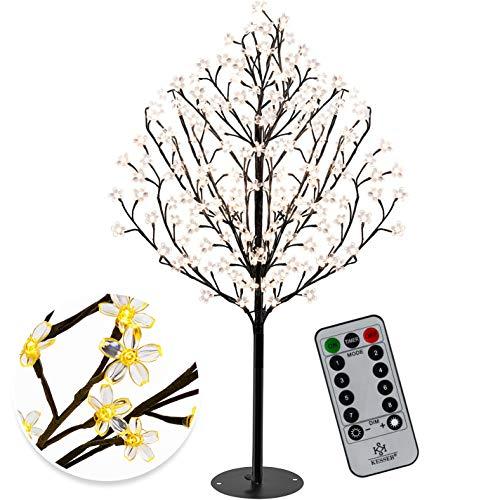 KESSER® Kirschblütenbaum mit Fernbedienung 220 LED | 220cm Lichterbaum Indoor Outdoor Metallfuß Stabil | Weihnachten Beleuchtung Leuchtbaum Warmweiß