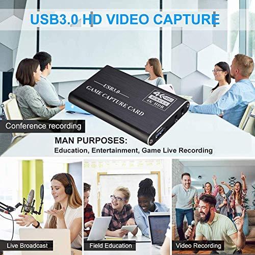iBellete Audio- und Videoaufnahmekarte, HDMI zu USB 3.0 4K Full HD 1080P 60fps, geeignet für Live-Streaming von PS4-, Xbox One- und Xbox 360-Spielen