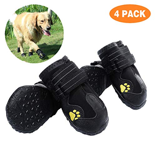 PG.KINWANG Dog Boots Waterproof Dog Shoes for Medium to Large Dogs with Reflective Velcro Rugged Anti-Slip Sole Pet Paw Protectors Labrador Husky Black 4 Pcs (Size 8: 3.3''x2.9'')