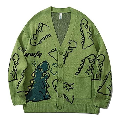 Cárdigans Mujeres de Manga Larga de Manga Larga, Cardigan de Estilo Vintage de Dibujos Animados con Cuello en V botón de suéter Chaqueta de Punto Mujer (Color : Green, Size : M)