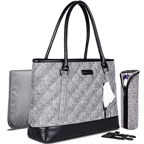 GFQ Wickeltasche, modisch, multifunktional, große Kapazität, Schulter-Windeltasche, tragbare Windeltasche mit Wickelunterlage, Kinderwagenriemen und isolierter Tasche
