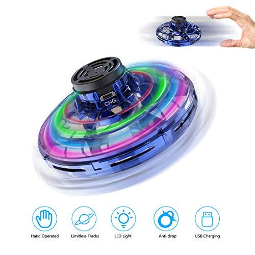 welltop UFO Mini Drohne, Kinder Spielzeug Handsensor Quadcopter Infrarot-Induktions-Flying Ball Fliegendes mit 360 ° drehbaren und Shinning LED-Lichtern Spielzeug Geschenke für Jungen Mädchen (Blau)